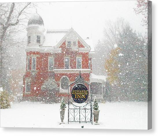 Edwards Waterhouse Inn In Winter Canvas Print