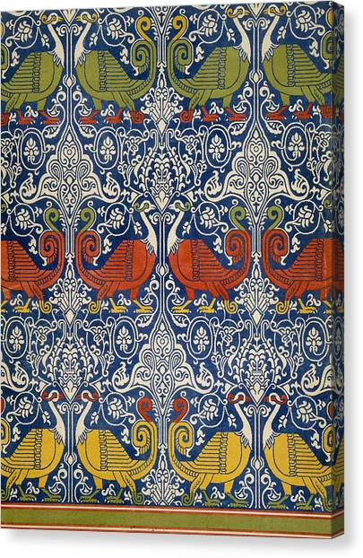 Fabric Canvas Print - Example Of Printed Egyptian Fabric by Emile Prisse d'Avennes