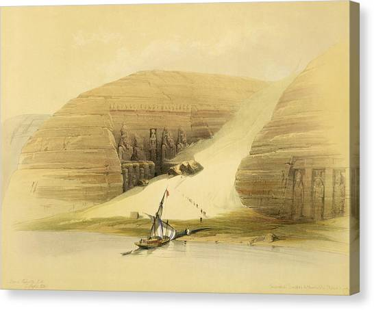 Egyptian Art Canvas Print - Excavated Temple Of Abu Simbel by David Roberts
