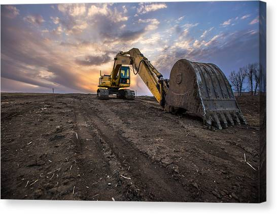 Excavators Canvas Print - Excavator by Aaron J Groen