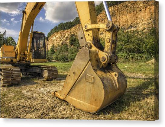 Excavator At Big Rock Quarry - Emerald Park - Arkansas Canvas Print