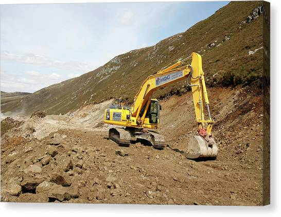 Excavators Canvas Print - Excavator Machine by Adam Hart-davis/science Photo Library