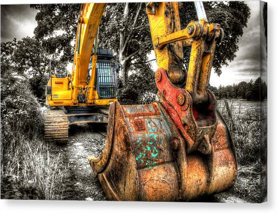 Excavators Canvas Print - Excavator by Mal Bray