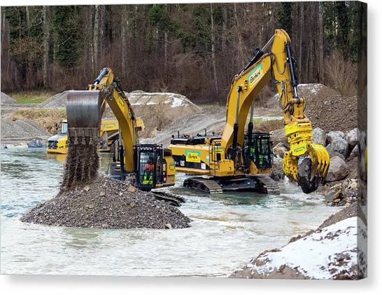 Excavators Canvas Print - Excavators In Thur River by Dr Juerg Alean