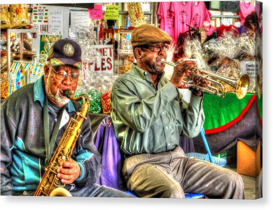 Canvas Print featuring the digital art Excelsior Band Horn Players by Michael Thomas