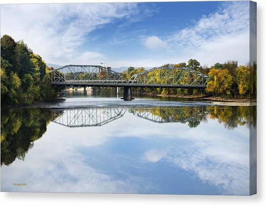 Canvas Print featuring the photograph Exchange St. Bridge Rock Bottom Dam Binghamton Ny by Christina Rollo