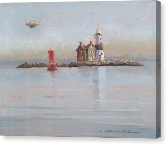 Blimps Canvas Print - Execution Lighthouse With Fuji Blimp by Marguerite Chadwick-Juner