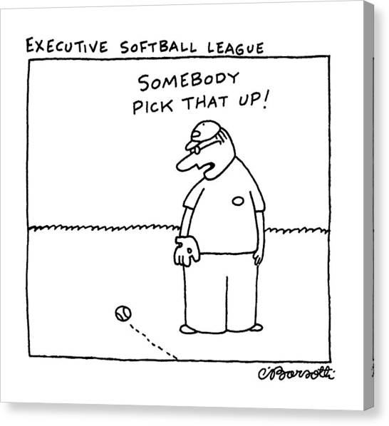 Softball Canvas Print - Executive Softball League by Charles Barsotti