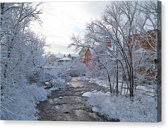 Exeter River With Snow And Ice Canvas Print