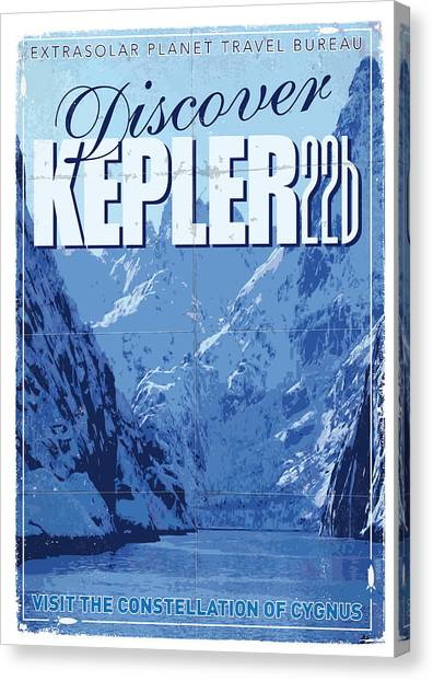 Mission Canvas Print - Exoplanet 02 Travel Poster Kepler 22b by Chungkong Art
