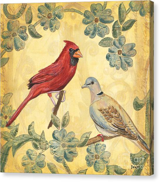Cardinals Canvas Print - Exotic Bird Floral And Vine 2 by Debbie DeWitt