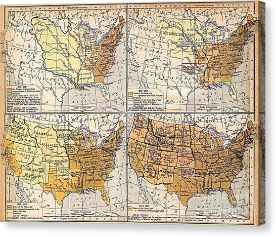 Expansion Of United States Territory Canvas Print by Pg Reproductions