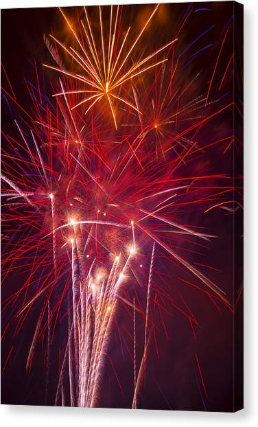 Pyrotechnics Canvas Print - Exploding Fireworks by Garry Gay