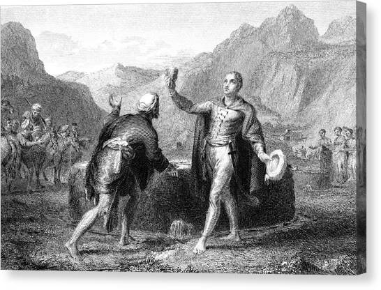 Explorer James Bruce Reaches The Source Canvas Print by Mary Evans Picture Library