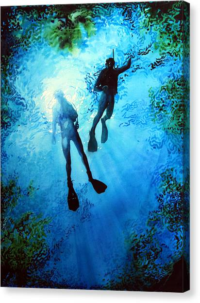 Water Sports Art Canvas Print - Exploring New Worlds by Hanne Lore Koehler