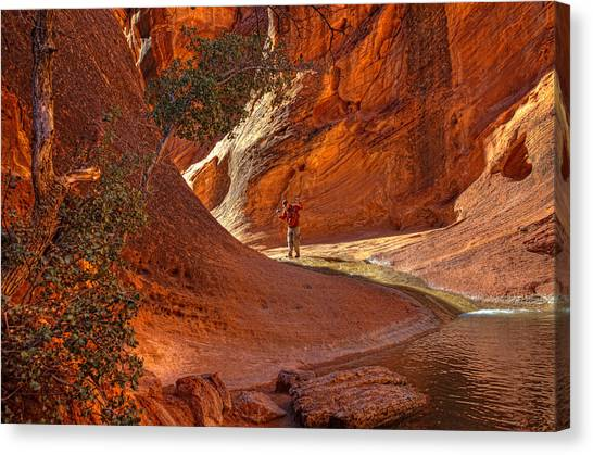 Exploring The Canyon Canvas Print