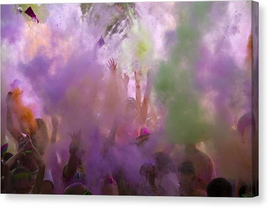 Explosion Of Colour Canvas Print by Debbie Cundy