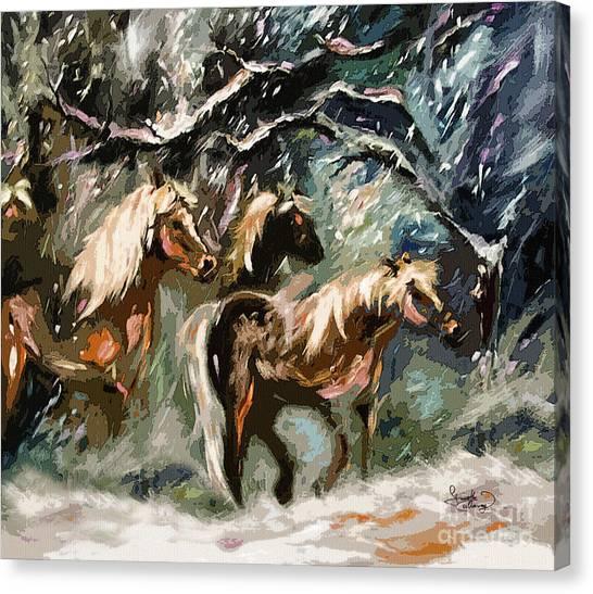 Expressive Haflinger Horses In Snow Storm Canvas Print