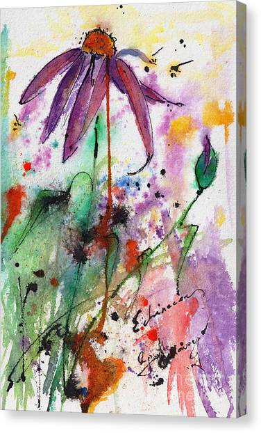 Expressive Purple Coneflower Watercolor And Ink Painting Canvas Print
