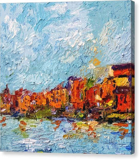 Expressive Seaside Village Square Format Canvas Print