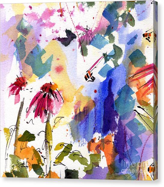 Expressive Watercolor Flowers And Bees Canvas Print
