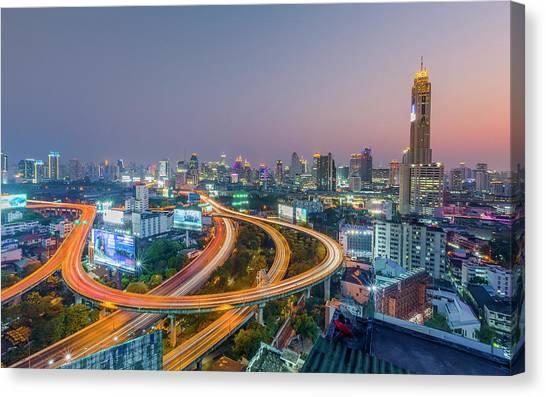 Expressway In Bangkok Canvas Print by Chalermkiat Seedokmai