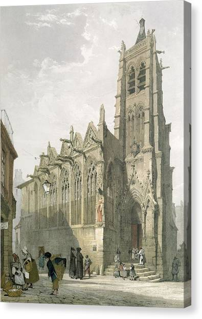 House Of Worship Canvas Print - Exterior Of The Church Of St. Severin, Paris by Thomas Shotter Boys