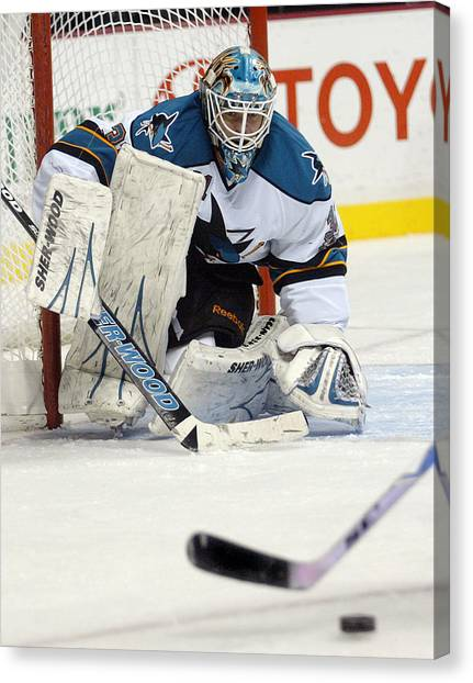 San Jose Sharks Canvas Print - Eyes On The Prize  Antti Niemi by Don Olea
