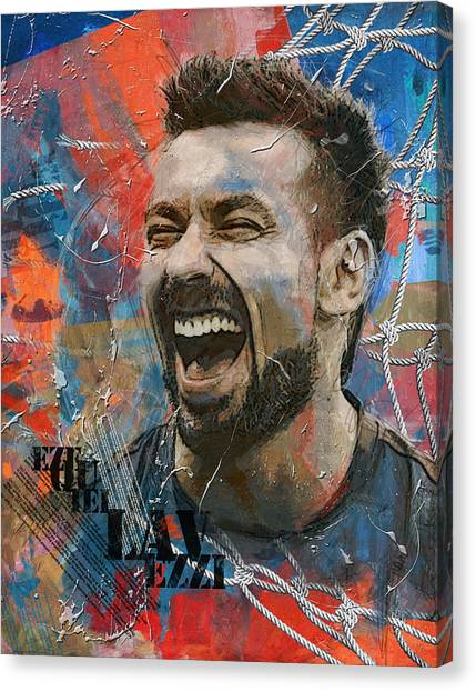 Paris Saint-germain Fc Canvas Print - Ezequiel Lavezzi - B by Corporate Art Task Force