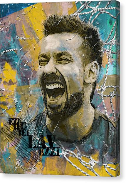 Paris Saint-germain Fc Canvas Print - Ezequiel Lavezzi by Corporate Art Task Force
