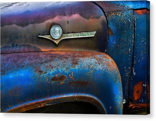 Rusty Truck Canvas Print - F-100 Ford by Debra and Dave Vanderlaan
