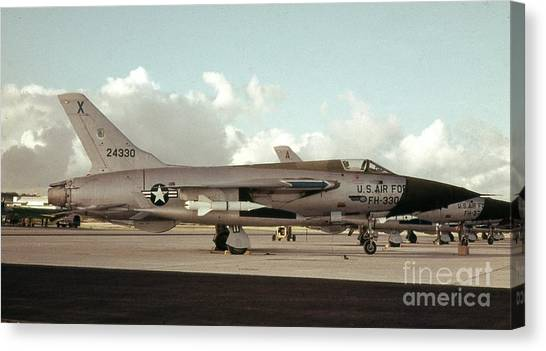 Missles Canvas Print - F 105 With Agm-12 B Missle by Craig Wood