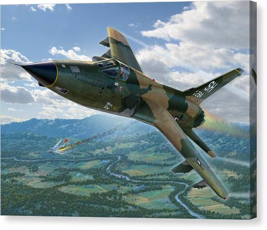 Vietnam War Canvas Print - F-105d Thunderchief Mary Kay by Stu Shepherd