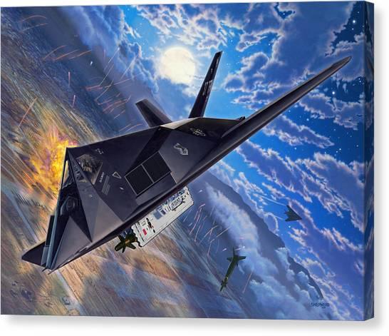 Baghdad Canvas Print - F-117 Nighthawk - Team Stealth by Stu Shepherd