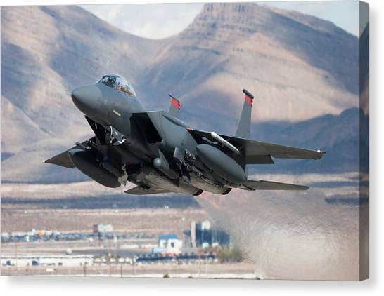 F-15e Strike Eagle Flying Past Mountains Canvas Print by CT757fan