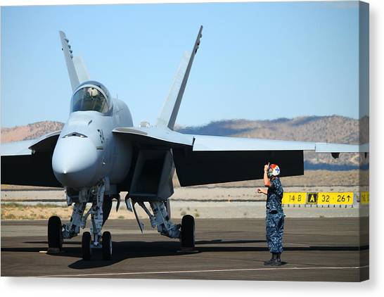 F16 Canvas Print - F-16 Ground Check by Saya Studios