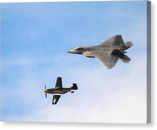 F-22 And P-51 Heritage Flight Canvas Print