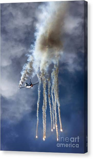 F16 Canvas Print - F16 Shooting Flares by Angel Ciesniarska