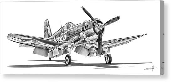 Gulls Canvas Print - F4u Corsair by Dale Jackson