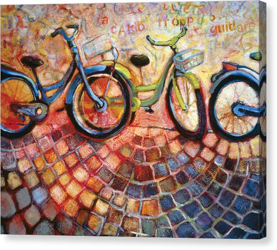 Bicycle Canvas Print - Fa Caldo Troppo Guidare by Jen Norton