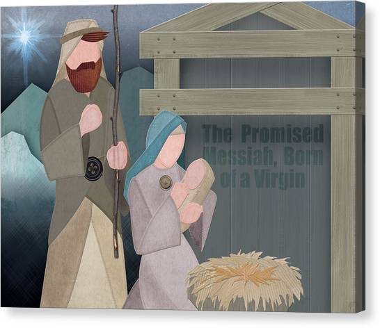 Fabric Nativity Canvas Print