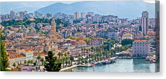 Fabulous Split Waterfront Aerial Panorama Canvas Print