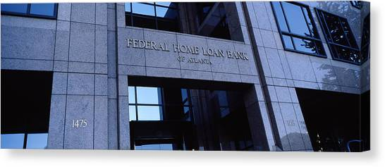 Windowpanes Canvas Print - Facade Of A Bank Building, Federal Home by Panoramic Images