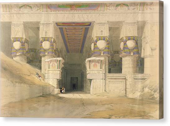 Egyptian Art Canvas Print - Facade Of The Temple Of Hathor, Dendarah, From Egypt And Nubia, Engraved By Louis Haghe 1806-85 by David Roberts