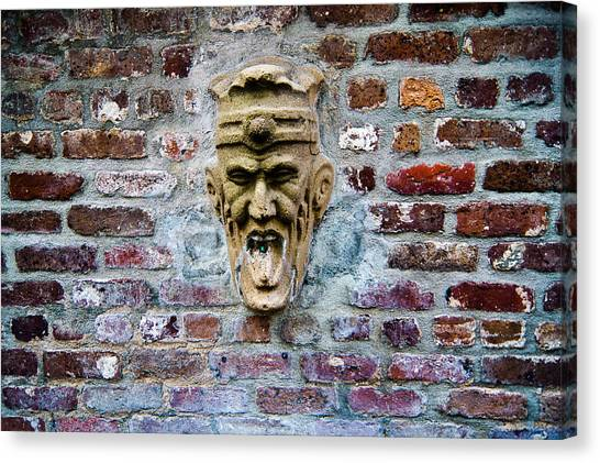 Face Fountain In Pirates Courtyard Canvas Print