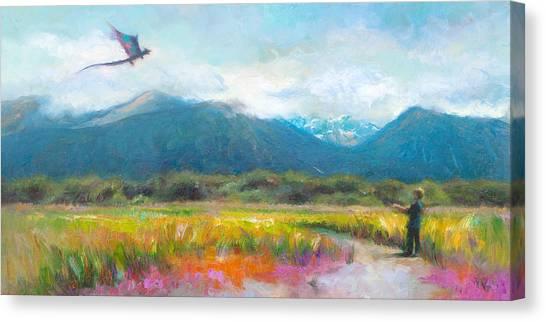 Face Off - Boy Facing His Dragon Kite Canvas Print