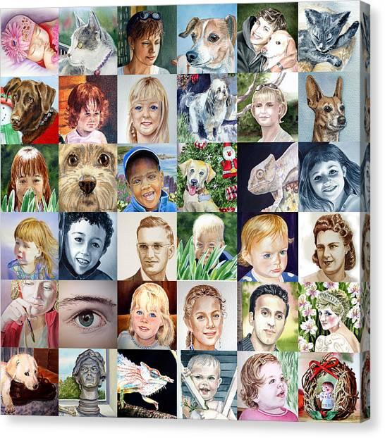 Watercolor Pet Portraits Canvas Print - Facebook Of Faces by Irina Sztukowski