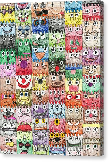 Faces Puzzle Poster Canvas Print
