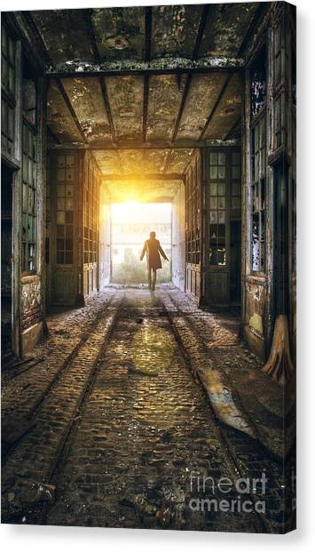 Factory Chase Canvas Print