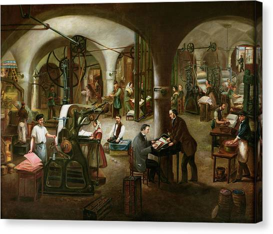 Printers Canvas Print - Factory In The Rue Daubagne, 1861 Oil On Canvas by V. Cornis